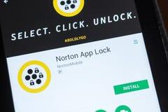 梁赞,俄罗斯- 2018年7月03日:诺顿App锁在片剂个人计算机显示的流动app  库存图片
