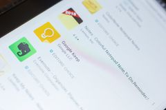梁赞,俄罗斯- 2018年5月16日:谷歌在流动apps名单保留app象或商标 免版税图库摄影