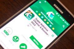 梁赞,俄罗斯- 2018年5月04日:超级抗病毒在手机显示的流动app  免版税库存图片
