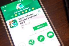 梁赞,俄罗斯- 2018年5月04日:超级抗病毒在手机显示的流动app  图库摄影