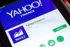 梁赞,俄罗斯- 2018年5月02日:雅虎财务在片剂个人计算机显示的流动app  免版税图库摄影