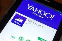 梁赞,俄罗斯- 2018年5月02日:雅虎财务在片剂个人计算机显示的流动app  免版税库存照片