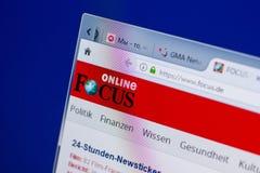 梁赞,俄罗斯- 2018年5月13日:集中网站于个人计算机, URL -焦点显示  de 免版税库存照片