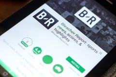 梁赞,俄罗斯- 2018年5月02日:露天看台报告在片剂个人计算机显示的流动app  免版税库存图片