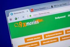 梁赞,俄罗斯- 2018年6月05日:9xmovies个人计算机, URL - 9xmovies显示的网站主页  org 免版税图库摄影