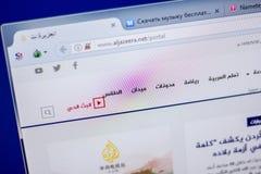 梁赞,俄罗斯- 2018年6月05日:AlJazeera网站主页个人计算机, URL - AlJazeera显示的  净额 免版税库存图片