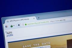 梁赞,俄罗斯- 2018年9月09日:Aps网站主页个人计算机, URL - Aps显示的  org 免版税库存照片