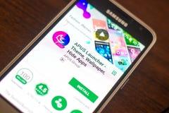 梁赞,俄罗斯- 2018年5月04日:APUS发射器在手机显示的流动app  免版税库存照片