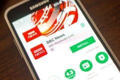 梁赞,俄罗斯- 2018年5月04日:BBC新闻在手机显示的流动app  库存照片
