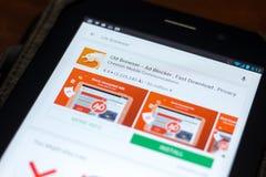 梁赞,俄罗斯- 2018年5月03日:CM在片剂个人计算机显示的流动apps名单的浏览器象  免版税库存图片