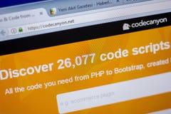 梁赞,俄罗斯- 2018年6月05日:CodeCanyon网站主页个人计算机, URL - CodeCanyon显示的  净额 库存图片