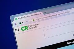 梁赞,俄罗斯- 2018年7月24日:ConsumerReports网站主页个人计算机显示的  URL - ConsumerReports org 库存图片