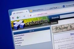梁赞,俄罗斯- 2018年6月05日:Cplusplus网站主页个人计算机, URL - Cplusplus显示的  com 免版税库存图片