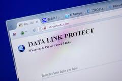 梁赞,俄罗斯- 2018年6月05日:Dlprotect1主页  个人计算机, URL - Dlprotect1显示的com网站  com 免版税库存照片