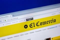 梁赞,俄罗斯- 2018年6月05日:ElComercio网站主页个人计算机, URL - ElComercio显示的  pe 免版税库存照片