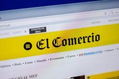 梁赞,俄罗斯- 2018年6月05日:ElComercio网站主页个人计算机, URL - ElComercio显示的  pe 免版税库存图片