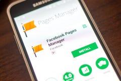 梁赞,俄罗斯- 2018年5月04日:Facebook页经理在手机显示的流动app  免版税库存图片