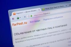 梁赞,俄罗斯- 2018年6月05日:FarPost网站主页个人计算机, URL - FarPostru显示的  免版税库存照片