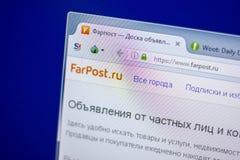 梁赞,俄罗斯- 2018年6月05日:FarPost网站主页个人计算机, URL - FarPostru显示的  库存图片