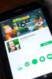 梁赞,俄罗斯- 2018年5月02日:Gardenscapes在片剂个人计算机显示的流动app  免版税库存照片