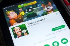 梁赞,俄罗斯- 2018年5月02日:Gardenscapes在片剂个人计算机显示的流动app  图库摄影