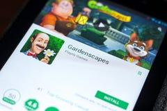 梁赞,俄罗斯- 2018年5月02日:Gardenscapes在片剂个人计算机显示的流动app  库存图片