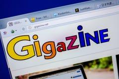 梁赞,俄罗斯- 2018年6月05日:Gigazine网站主页个人计算机, URL - Gigazine显示的  净额 库存图片