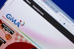 梁赞,俄罗斯- 2018年5月13日:GMA个人计算机, URL - GMAnetwork显示的网络网站  com 免版税库存图片
