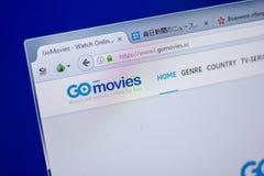 梁赞,俄罗斯- 2018年6月05日:GoMovies网站主页个人计算机, URL - GoMovies显示的  Sc 免版税库存图片