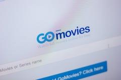 梁赞,俄罗斯- 2018年6月05日:GoMovies网站主页个人计算机, URL - GoMovies显示的  Sc 库存照片