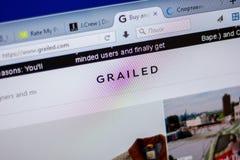 梁赞,俄罗斯- 2018年6月05日:Grailed网站主页个人计算机, URL - Grailed显示的  com 库存图片
