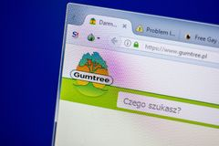 梁赞,俄罗斯- 2018年6月05日:Gumtree网站主页个人计算机, URL - Gumtree显示的  pl 库存照片