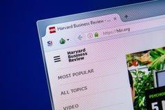梁赞,俄罗斯- 2018年7月25日:HBR网站主页个人计算机显示的  URL - HBR org 免版税库存照片
