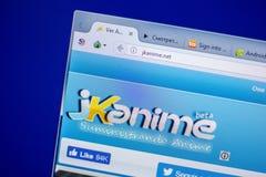 梁赞,俄罗斯- 2018年6月05日:JKanime网站主页个人计算机, URL - JKanime显示的  净额 库存图片