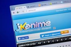 梁赞,俄罗斯- 2018年6月05日:JKanime网站主页个人计算机, URL - JKanime显示的  净额 免版税图库摄影