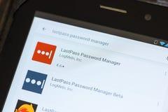梁赞,俄罗斯- 2018年7月03日:LastPass密码在流动apps名单的经理象 免版税库存图片