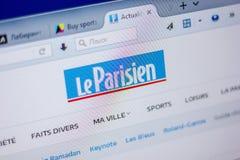 梁赞,俄罗斯- 2018年6月05日:Le帕里西安网站主页个人计算机, URL显示的- leParisien Fr 库存照片