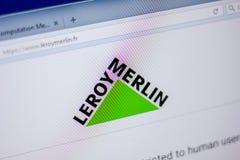 梁赞,俄罗斯- 2018年6月05日:LeroyMerlin网站主页个人计算机, URL - LeroyMerlin显示的  Fr 库存图片