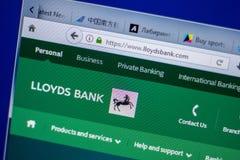 梁赞,俄罗斯- 2018年6月05日:LloydsBank网站主页个人计算机, URL - LloydsBank显示的  com 库存图片