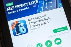 梁赞,俄罗斯- 2018年7月03日:MAX AppLock -保密性卫兵, Applocker在片剂个人计算机显示的流动app  库存照片