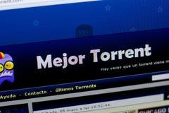 梁赞,俄罗斯- 2018年5月08日:Mejor个人计算机, URL - Mejortorrent显示的洪流网站  com 免版税库存照片