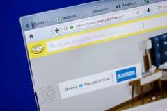 梁赞,俄罗斯- 2018年6月05日:Mercadolibre网站主页个人计算机, URL - Mercadolibre显示的  com 库存照片