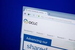 梁赞,俄罗斯- 2018年6月26日:Oclc网站主页个人计算机显示的  URL -Oclc org 免版税图库摄影