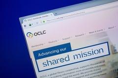 梁赞,俄罗斯- 2018年6月26日:Oclc网站主页个人计算机显示的  URL -Oclc org 免版税库存照片