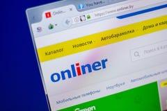 梁赞,俄罗斯- 2018年6月05日:Onliner网站主页个人计算机, URL - Onliner显示的  由 库存图片