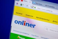 梁赞,俄罗斯- 2018年6月05日:Onliner网站主页个人计算机, URL - Onliner显示的  由 库存照片