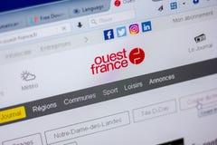 梁赞,俄罗斯- 2018年6月05日:Ouest法国网站主页个人计算机, URL - Ouest法国显示的  Fr 库存图片