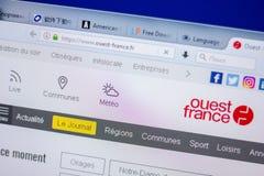 梁赞,俄罗斯- 2018年6月05日:Ouest法国网站主页个人计算机, URL - Ouest法国显示的  Fr 库存照片