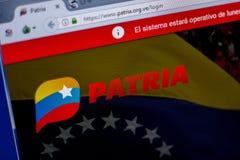 梁赞,俄罗斯- 2018年6月05日:Patria网站主页个人计算机, URL - Patria显示的  org Ve 库存照片