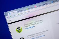 梁赞,俄罗斯- 2018年6月05日:PBS网站主页个人计算机, URL - PBS显示的  org 免版税库存图片
